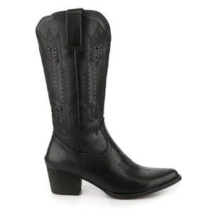 Wanted Black Faux Leather Western/Cowboy Boot